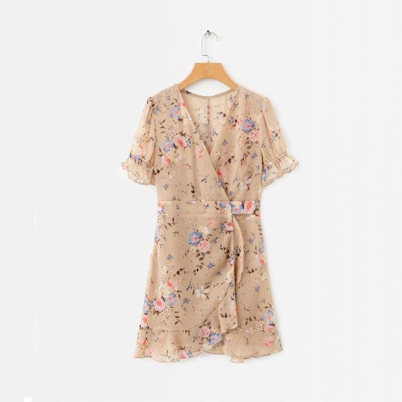 2019 summer women dress casual lotus leaf decoration flower print V neck short sleeved dress