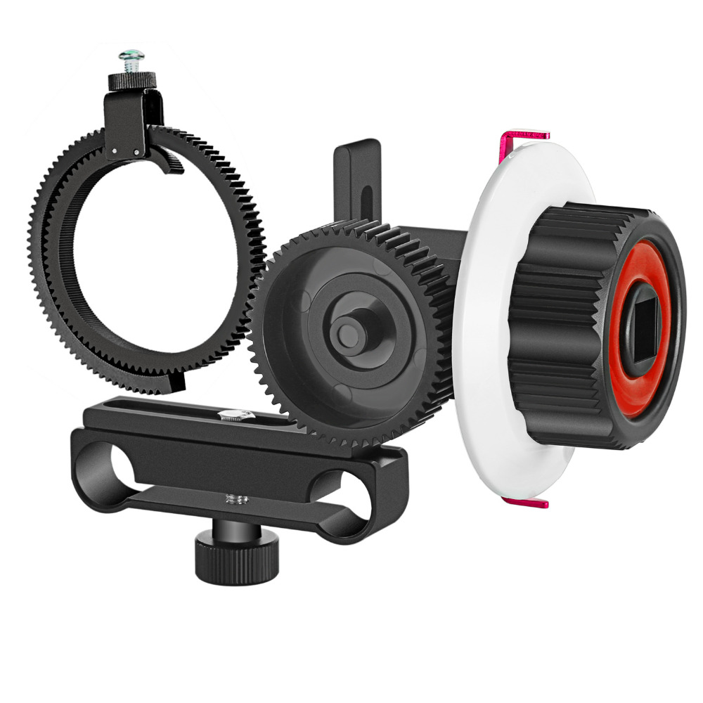 Neewer Follow Focus with Gear Ring Belt for Canon and Other DSLR Camera Camcorder DV Video Fits 15mm Rod Film Making System