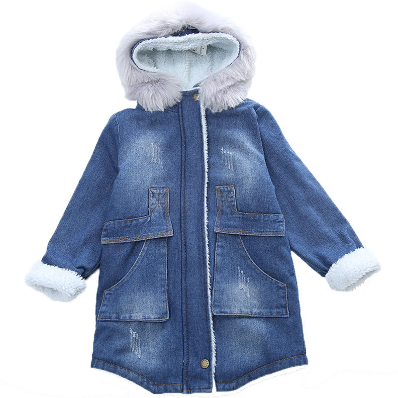 2018 New Winter Thick Fur Cowboy Hooded Baby Toddler Teen Clothes Girl Denim Jacket Kids Cardigan Girls Coats Jackets Trench