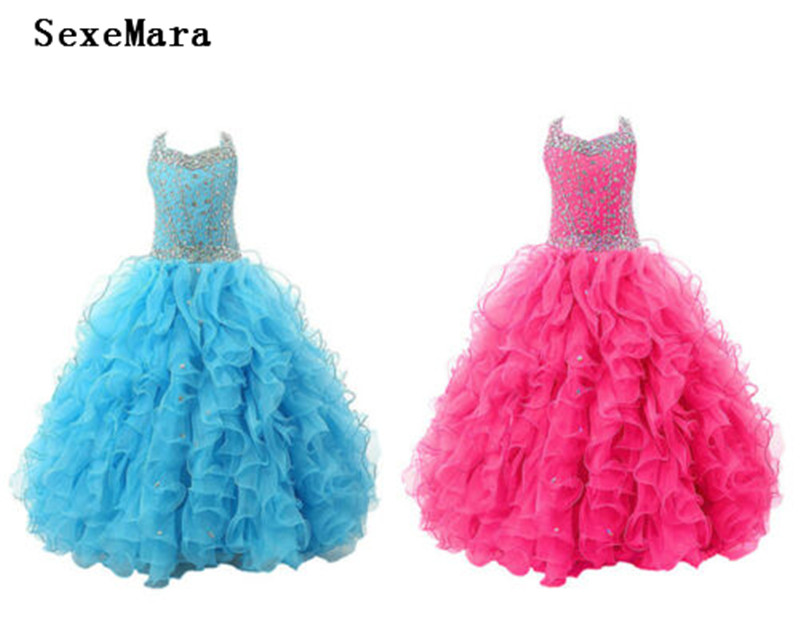Blue/Rose Luxury Girls Dresses Crystals Beading Puffy Organza Flower Girl Dress Kids Birthday Party Prom Gowns Custom Made SizeBlue/Rose Luxury Girls Dresses Crystals Beading Puffy Organza Flower Girl Dress Kids Birthday Party Prom Gowns Custom Made Size