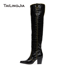 Black Patent Crocodile Pattern Cowboy Thigh High Boots Block Heel Women Over The Knee Pointed Square Toe Mid
