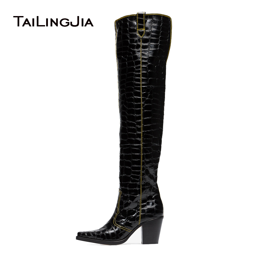 Black Patent Crocodile Print Cowboy Thigh High Boots With Block Heel Women Over The Knee High Boots Pointed Square Toe Mid Heel wool felt cowboy hat stetson black 50cm