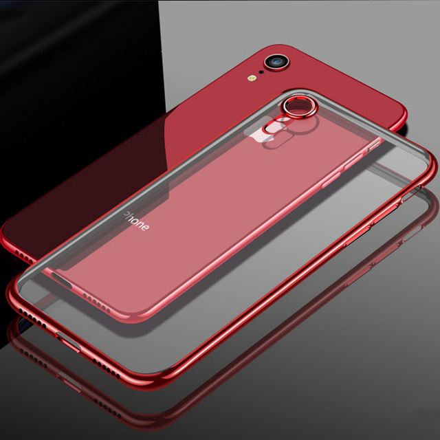 new concept 786ec b0f12 US $0.9 24% OFF|Luxury Soft Silicone Case Cover for iphone X XS MAX 10 XR 5  5S SE 6 7 8 6S Plus Plating Clear TPU DropProof Full Coverage-in Fitted ...