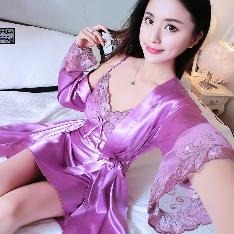 Summer Sexy Sleepwear Lace Nightgown Female Nighty&robe Set Rayon Nightdress Bride Bridesmaid Wedding Kimono Robe Home Dress
