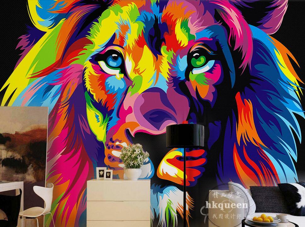 Custom children wallpaper,Painted Lion,3D cartoon mural for living room bedroom children's room backdrop PVC papel de parede children room cartoon bedroom door decoration wall sticker pvc mural wallpaper for kids room posters papel de parede home decor