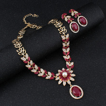 jiayijiaduo India Bridal jewelry sets for women fashion faux pearl Necklace earrings set Gold-color Wedding garment accessories