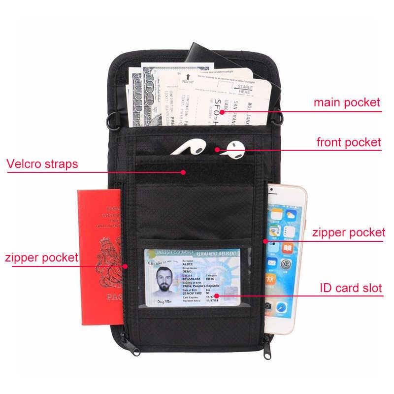 Rfid ブロッキング旅行ネックポーチ ID カードポーチ財布男性女性のパスポートカバーぶら下げ多機能カードマネー盗難防止バッグ