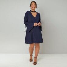 Kissmilk 2018 Plus Size Hollow Out Women Dress Large Size Lace Up Flare Sleeve Female Clothing Big Size Sexy Lady Mini Dress