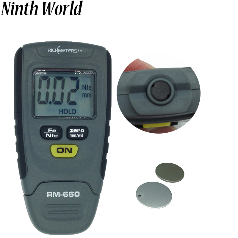 1pc RM660 Digital Paint Coating Thickness Gauge LCD Feeler Gauge  Fe/NFe 0-1.25mm For Car Instrument Iron Aluminum Base Metal bosch ghg 660 lcd 0 601 944 302