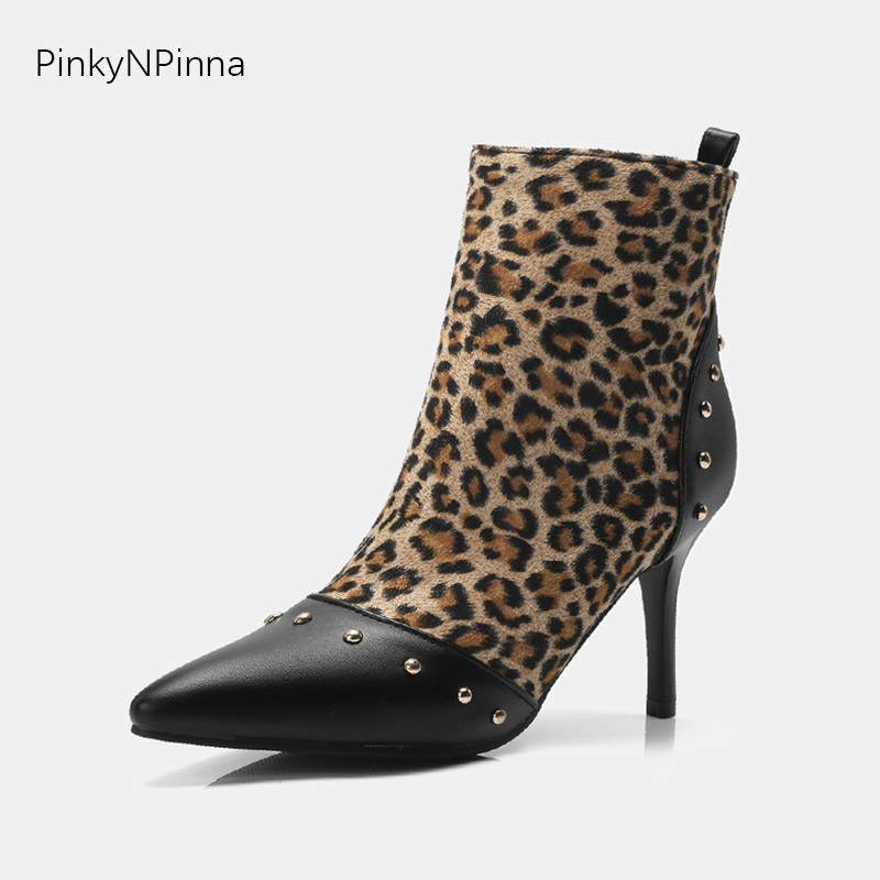 fashion women ankle boots leopard pattern metallic beads embellished high heels stiletto booties for evening party dress shoes
