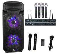 STARAUDIO Dual 15 4500W Powered Active PA DJ Stage Bluetooth Speaker W Light 4CH UHF Mic