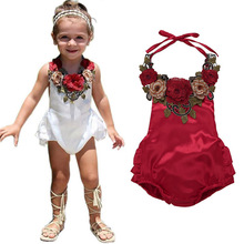 Newborn Baby Girl Rompers Summer Flower Halter Backless Red Romper Sleeveless Ruffles Jumpsuit Toddler Infant One-Piece Clothes недорого