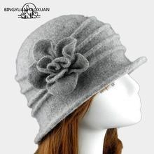 2018 פרח חדש סעיף 100% צמר כובע סתיו חורף בגיל העמידה נשי רך כובע נשים אירופאי גאות כיפת Felted אמא מחשבה כובע