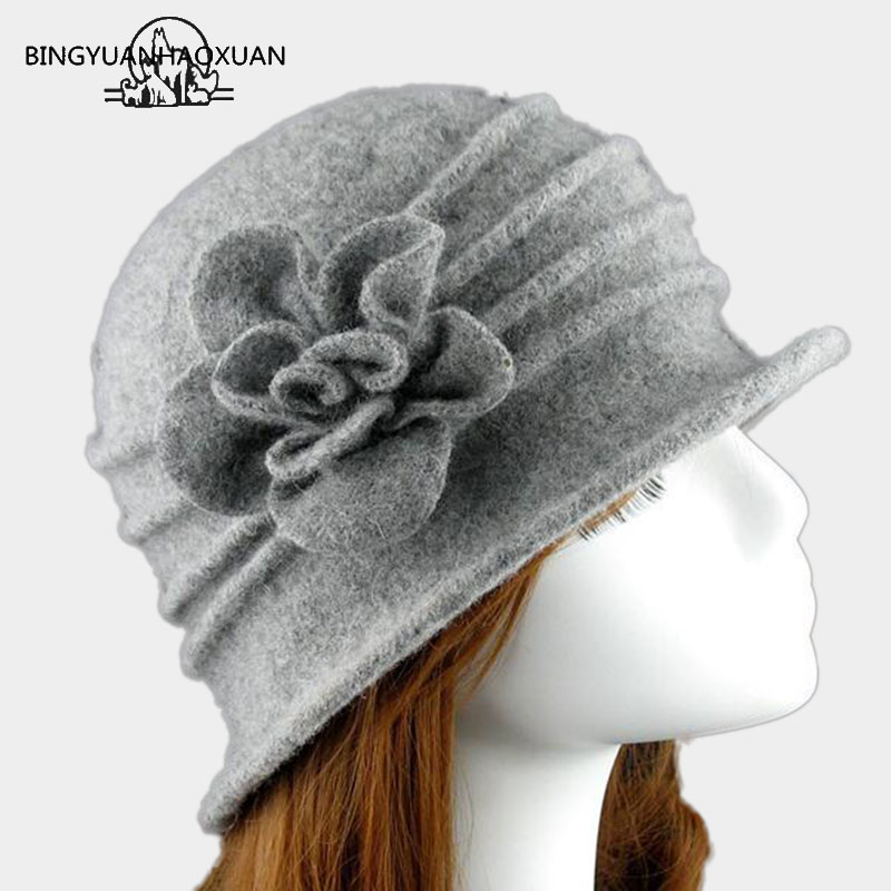2018Flower New Section 100% Wool Hat Autumn Winter Middle-aged Female Soft Hat Women European Tide Dome Felted Mummy Thought Hat