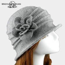 2018Flower New Section 100% Wool Hat Autumn Winter Middle-aged Female Soft Women European Tide Dome Felted Mummy Thought