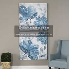 Hand Painted Modern Abstract Oil Painting On Canvas for Hotel Decor 2PCS Blue Flowers Home Living Room