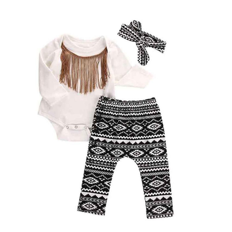 Gift for kids baby 3pcs Newborn Infant Baby Girls Tassels Romper+Pants+Headband Legging Outfits Baby Girl Clothes Set Ropa mujer