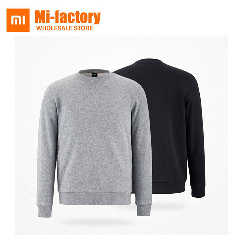 Xiaomi MITOWN Autumn Winter Men Cotton Sweater Crewnecks O-Neck Pullovers Simple Jumpers Sweater Gray Black S-XXL New Arrival multifunction sub dial orkina men vogue luxury quartz watch golden mesh metallic strap blue round dial hot sale classic gift
