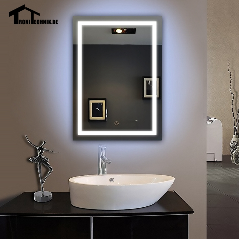 90 240V 50x70cm Mirrors Glass Led Illuminated Bathroom Bath Mirror With Picture Frame Wall