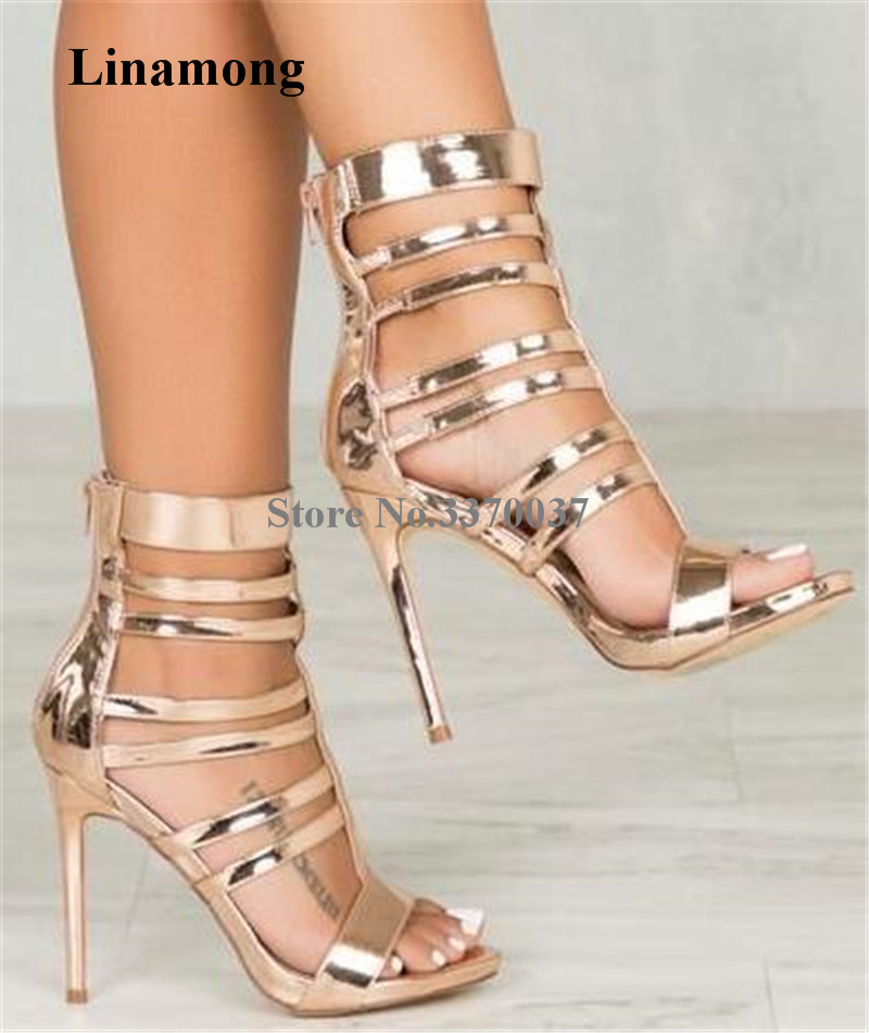 3d81e756b0 Summer New Fashion Women Open Toe Patent Leather Stiletto Heel Gladiator  Sandals Cut-out Gold Zipper-up High Heel Sandals - aliexpress.com -  imall.com