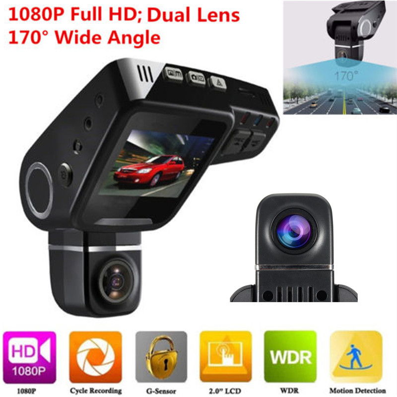KROAK Dual Lens C10s Car DVR Full HD 1080P 2 Inch LCD Dashboard Camera Recorder Video Dash Cam 2 7 inch r310 tft lcd dual 2 lens car dvr video recorder