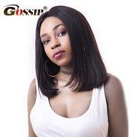 Gossip Brazilian Straight Short Wigs For Black Women 150 Density Lace Front Human Hair Bob Wigs