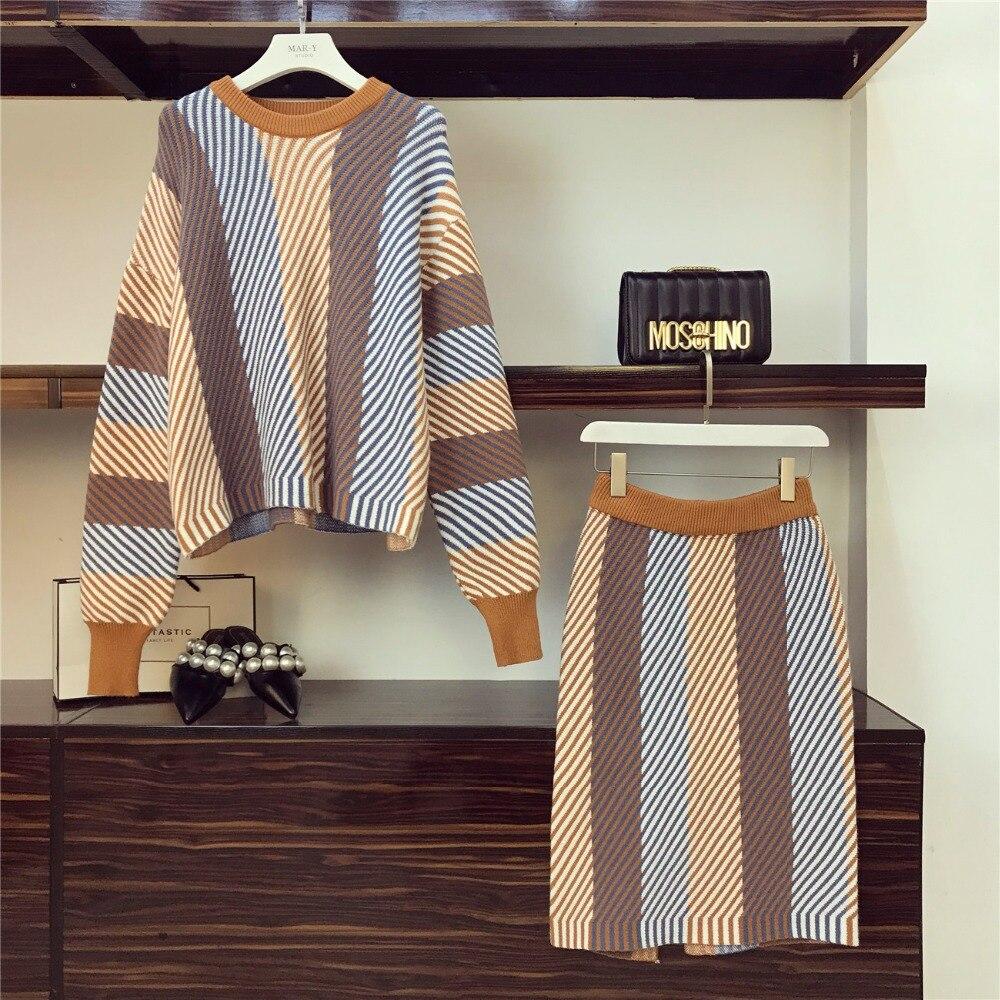 Femmes irrégulière rayé pull pulls + jupes 2 pièces ensembles tissu décontracté costumes