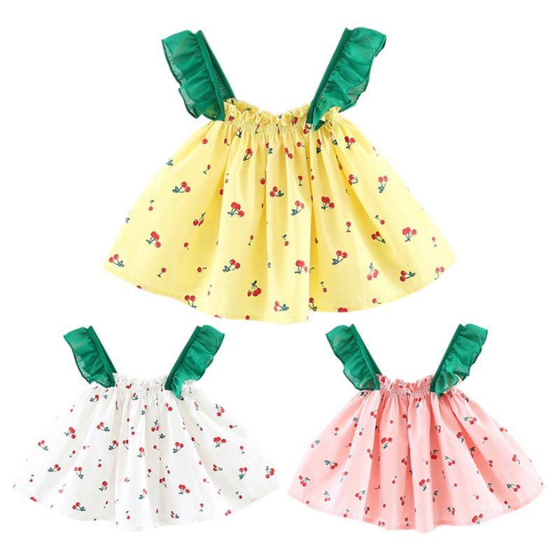1-3T Summer Baby Girls Cute Dress Infant Kids Printed Sleeveless Dresses Newborn Childre ...
