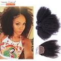 6A malasia Afro rizado Curly Hair Bundles con cierre 3 manojos de cabello virgen con cierre Rosa productos para el cabello Queen con cierre