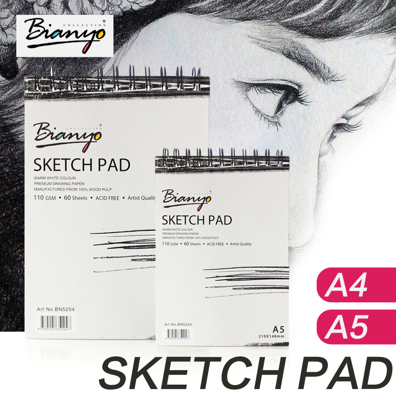 Bianyo 110g A4 A5 Sketch Book Stationery Notepad Sketchbook For Painting Drawing Diary Journal Creative Notebook Gift potentate 80gsm a5 24 sheets sketch book notebook notepad sketchbook for painting drawing diary journal creative gift