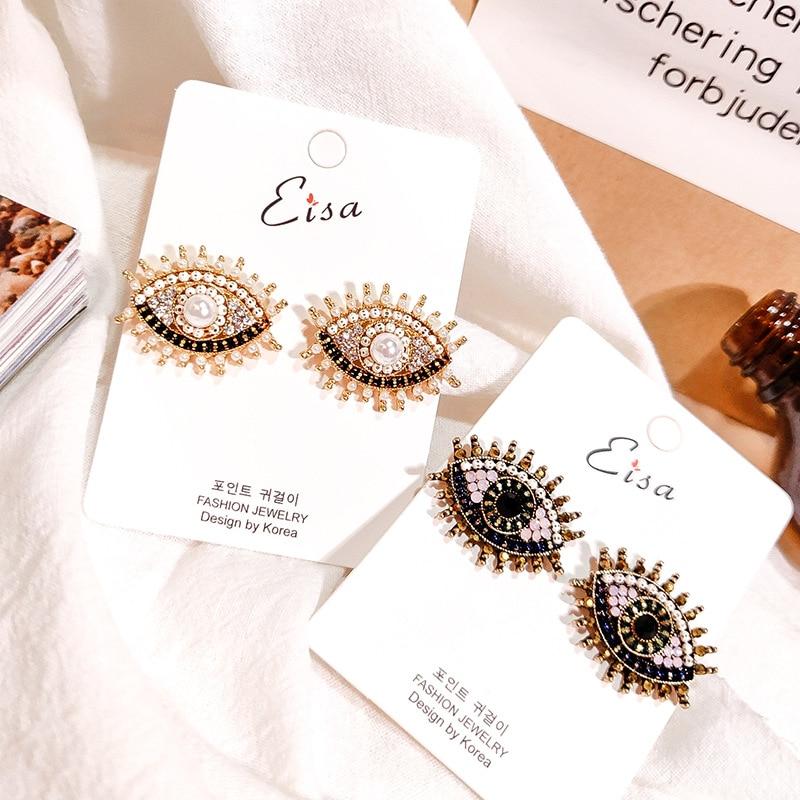 Europe Design Vintage Eye Shape Stud Earrings For Women Fashion Personality Rhinestone Oorbellen Femme Trendy Ear Jewelry