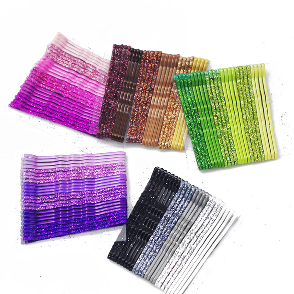10-24PCS/Set Glitter Candy Color Hair Clips Bobby Pins 5CM Curly Wavy Alloy Hairpins Women Girls Shiny Barrette Hair Accessories