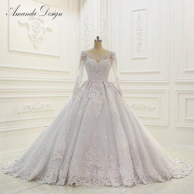 Abiti דה sposa יוקרה ארוך שרוול תחרה Appliqued נמוך חזרה מבריק חתונה שמלה
