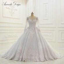 abiti da sposa Luxury Long Sleeve Lace Appliqued Low Back Shiny Wedding Dress