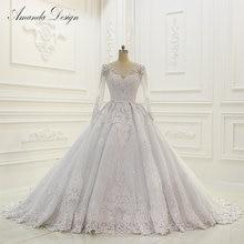 Vestido de novia abiti da sposa de lujo de manga larga con Apliques de encaje de espalda baja brillante