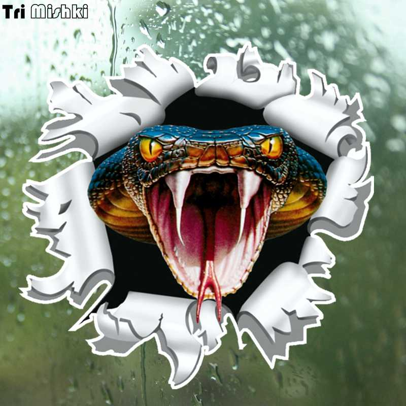 Tri Mishki WCS159 14x15cm snake anger Cobra head come out from Bullet hole car sticker funny colorful auto automobile decals