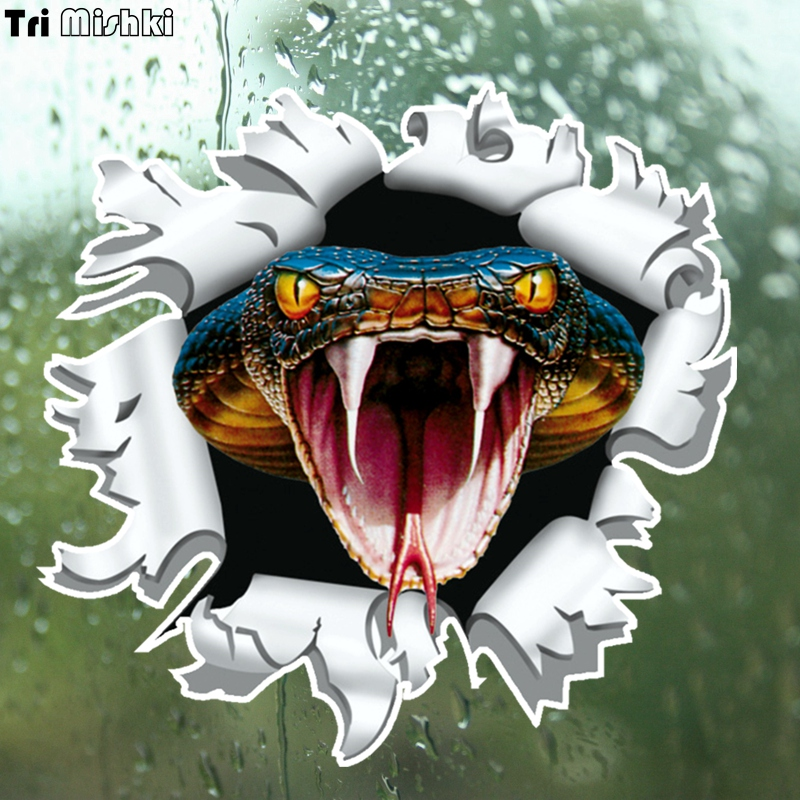 Tri Mishki WCS159 14x15cm snake anger Cobra head come out from Bullet hole car sticker funny colorful auto automobile decals in Car Stickers from Automobiles Motorcycles