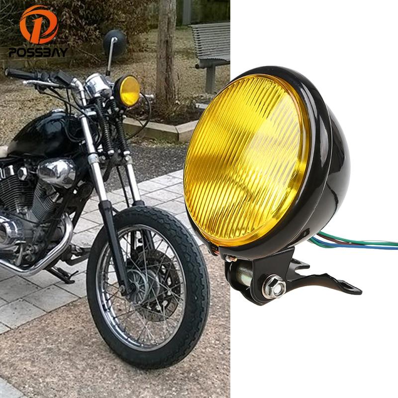 POSSBAY 5 ''Rétro Moto Phare pour CG125 GN125 Harley Suzuki Honda cb400 BWM Faisceau Ampoule Café Racer Phare Moto