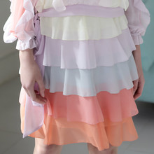 LYNETTE'S CHINOISERIE 2016 Spring Summer New Women Macaron series decoration color block layered chiffon bust skirt