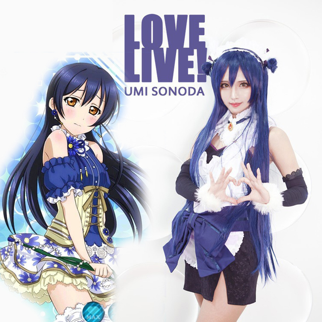 Love Live Cosplay Wigs Dark Blue Hair Straight Long 80cm And 100cm