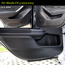 цена на 4pcs New Interior Carbon Fiber Doors Side Edge Anti-kick Protection Pad Sticker For Mazda CX-5 2013-2015