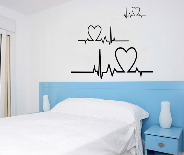 Heart Line Wall Art Decals Home Decoration Living Room Wall Decal Quote  Bedroom Wall Sticker Murals