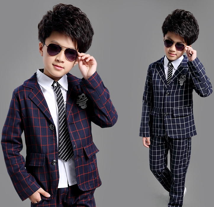 купить Boys Suits 2pcs 4 5 6 7 8 9 10 11 12 13 Years Blazers Children Clothing Set Autumn Kids Clothes Long Sleeve Plaid Outwear + Pant
