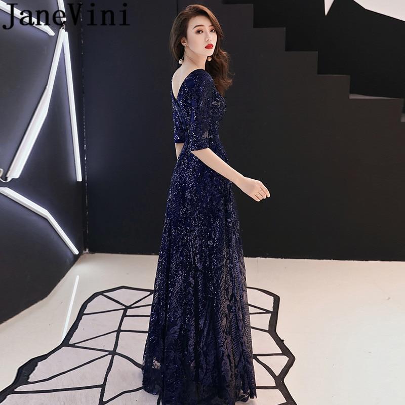 JaneVini élégant noir robes de bal avec demi manches brillant paillettes robes de soirée bleu marine longue Brugundy dames fête porter 2019
