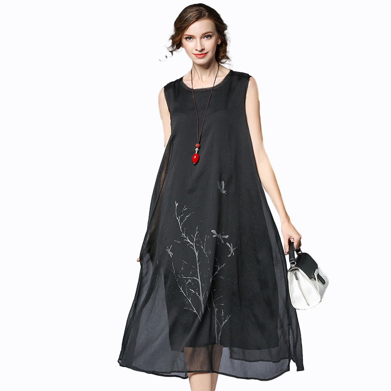 Flowy Oversize Chiffon Midi Dress Plus Size Women Summer Sleeveless