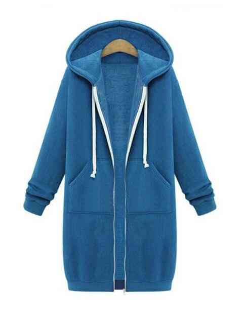 2016 Women's Trench Coat Hooded Casual Velvet Warm Outwear Long Sleeve Cotton Zipper Hoody Streetwear