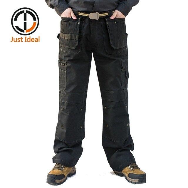 บุรุษขนส่งสินค้าหนักกางเกงกระเป๋าหลายผ้าใบกางเกงทำงานสบายๆสวมทหารยุทธวิธียาวเต็มความยาวกางเกงID627