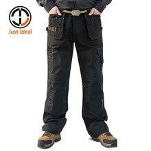 כיסים רב Mens מכנסיים מטען כבד החובה בד מזדמן ללבוש לעבודה טקטי צבאי מכנסיים באורך מלא ארוך צפצף ID627