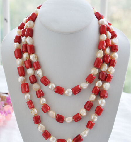 все цены на red cylinder coral pink baroque pearl necklace 70''