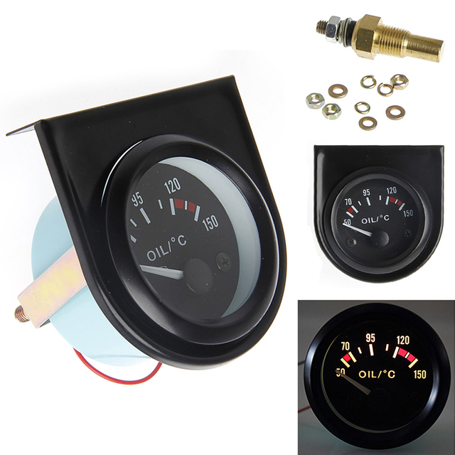 1 conjunto de 52mm CONDUZIU a Luz Do Carro Pointer Oil Temp Medidor de Temperatura 50-150 Graus